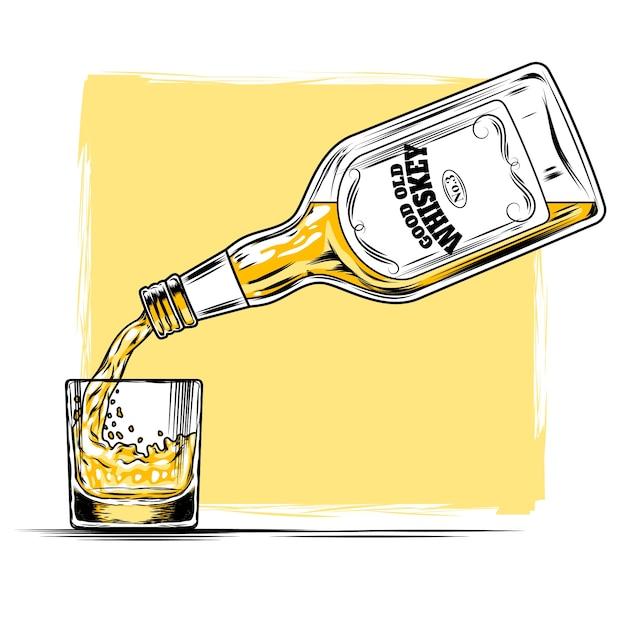 ウィスキーとガラスのベクトル図 無料ベクター