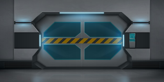 警告ストライプテープ付きの現実的な金属製スライドドア 無料ベクター