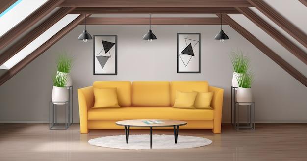 Современная гостиная на чердаке с деревянной потолочной балкой и окнами в комнате Бесплатные векторы