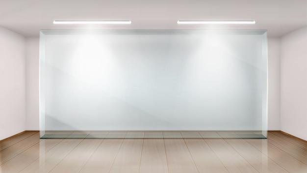 Пустой выставочный зал со стеклянной стеной Бесплатные векторы