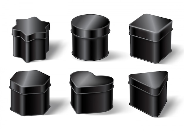 Черные жестяные коробки Бесплатные векторы