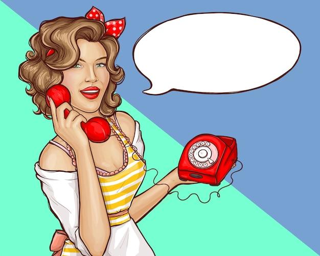 Поп-арт женщина домохозяйка вызов ретро телефон баннер Бесплатные векторы