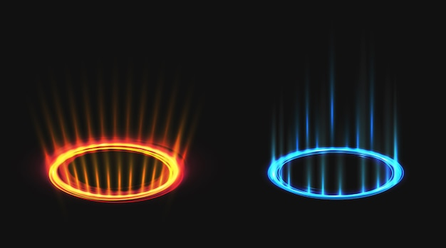 Набор неоновых круглых лучей свечения Бесплатные векторы