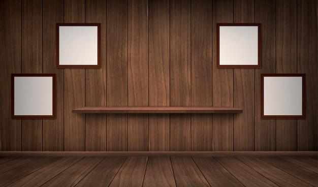 棚とフレームと木製の部屋のインテリア 無料ベクター