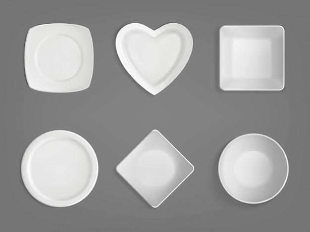 Белые чаши разных форм Бесплатные векторы