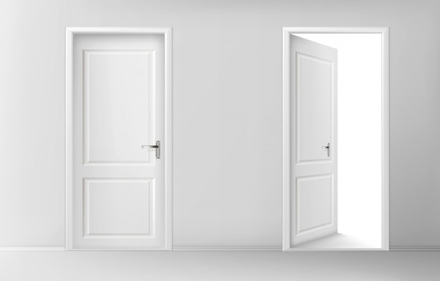 白い木製のドアを開閉 無料ベクター