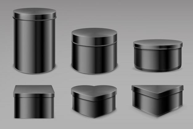 黒いブリキの箱セット、紅茶またはコーヒー用の空の瓶 無料ベクター