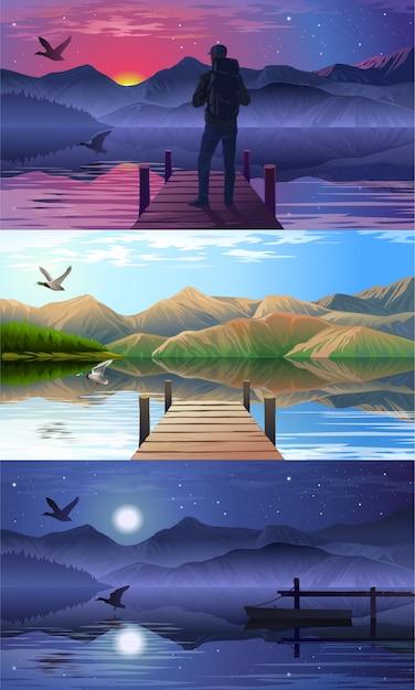 湖と桟橋の眺め 無料ベクター