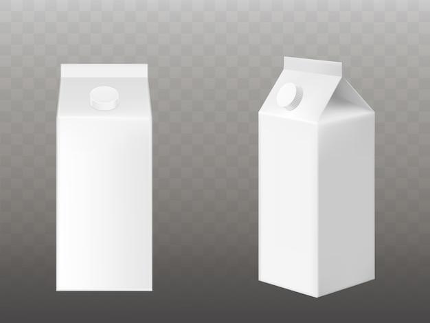 Пустая белая упаковка для молока или сока Бесплатные векторы