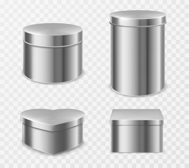 Металлические жестяные коробки для чая, конфет или кофе Бесплатные векторы