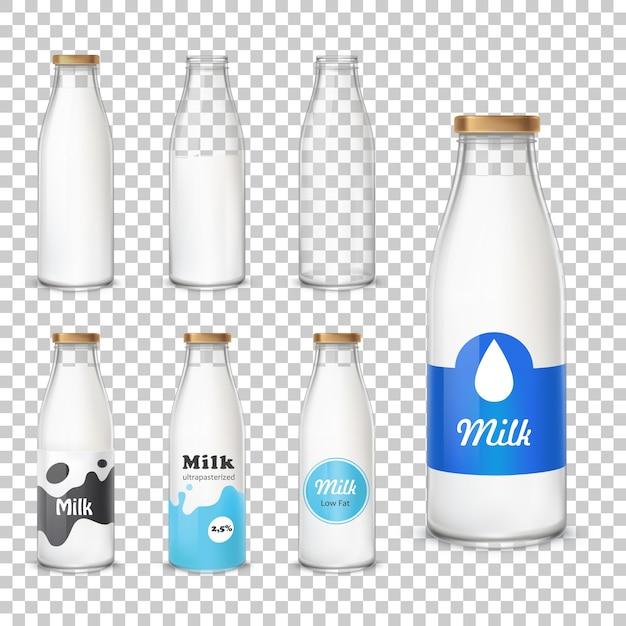 Набор значков стеклянных бутылок с молоком в реалистичном стиле Бесплатные векторы