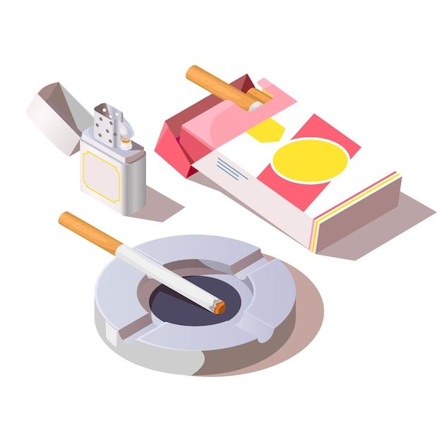 Пачка сигарет, газовая зажигалка и пепельница Бесплатные векторы