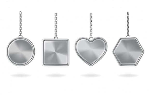 Набор пустых брелков. серебряные подвески круглой, квадратной, сердечной и шестиугольной формы Бесплатные векторы