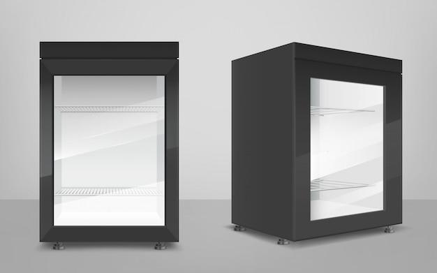 Пустой черный мини-холодильник с прозрачной стеклянной дверцей Бесплатные векторы