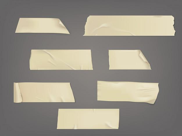 シャドウとしわのある粘着テープの異なるスライスのベクトル図セット 無料ベクター