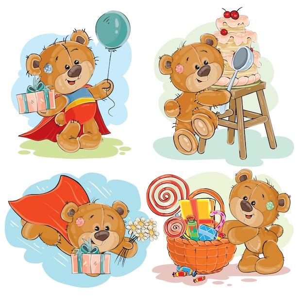 茶色のテディベアのベクトルクリップアートイラストのセットはあなたに幸せな誕生日を祈ります。 無料ベクター