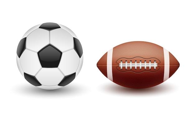 Векторный набор спортивных мячей, мячей для футбола и американского футбола в реалистичном стиле Бесплатные векторы