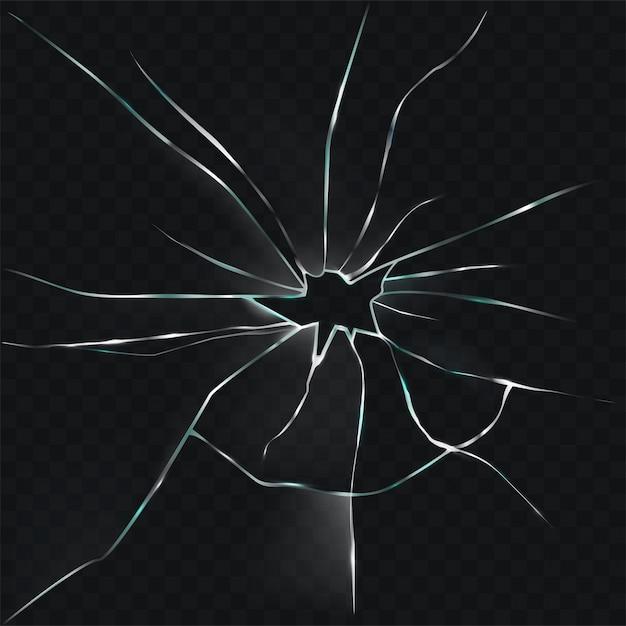 Векторная иллюстрация сломанного, треснувшего, треснувшего стекла с отверстием Бесплатные векторы