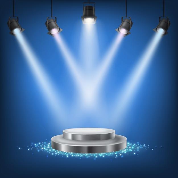 Набор векторных сценических прожекторов Бесплатные векторы