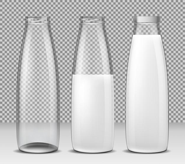 ベクトル孤立したイラストアイコン牛乳や乳製品のガラスびんのセット
