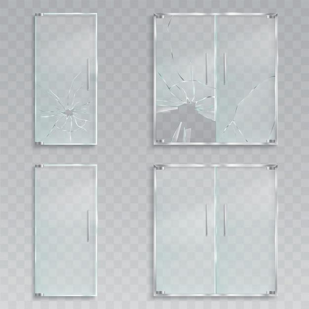 入り口のガラスのドアのレイアウトのベクトル現実的なイラストメタルハンドル破られていない破損したガラス 無料ベクター