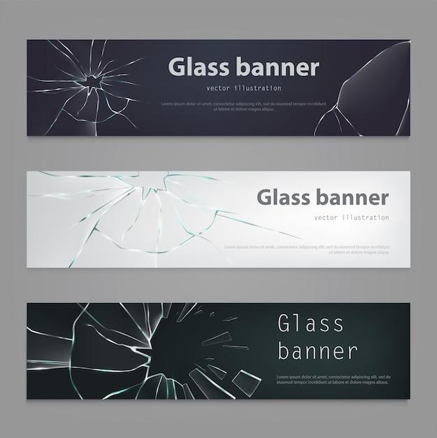 Набор векторных иллюстраций разбитых стеклянных баннеров, треснувшего стекла. Бесплатные векторы