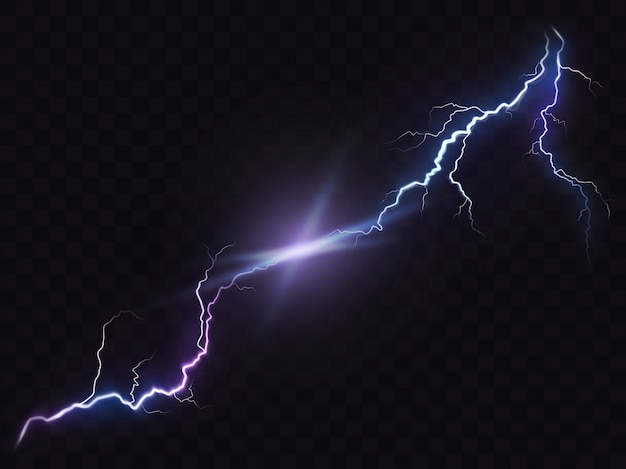 明るく輝く稲妻の現実的なスタイルの暗い、自然の光の効果に分離のベクトル図。 無料ベクター