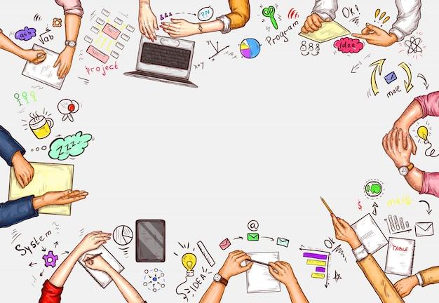 Векторные поп-арт иллюстрации мужчины и женщины, сидя за столом переговоров таблицы вид сверху Бесплатные векторы