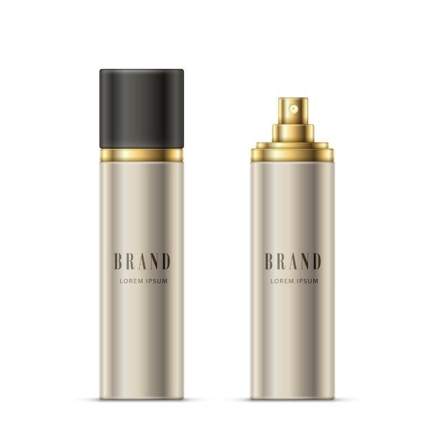 Векторная реалистичная иллюстрация бутылки с распылителем серебристого цвета с золотым опрыскивателем и черным колпачком Бесплатные векторы