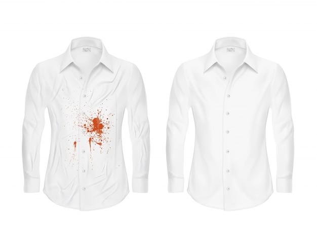 Набор векторных иллюстраций белой рубашки с красным пятном и чистой, до и после химчистки Бесплатные векторы