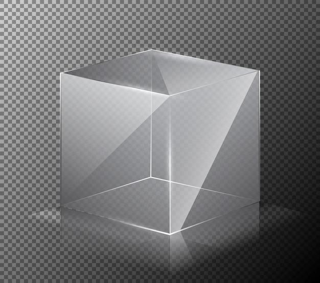 Векторная иллюстрация реалистичный, прозрачный, стеклянный куб, изолированных на сером фоне. Бесплатные векторы