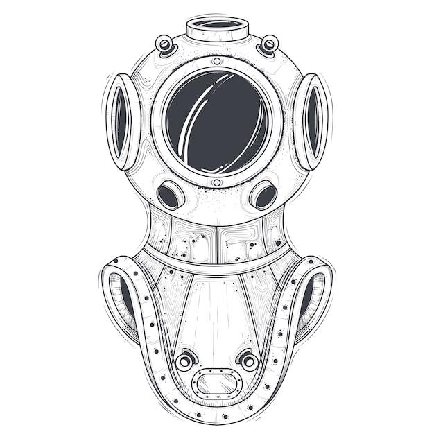 Ретро глубоководные подводное оборудование линии искусства вектор Бесплатные векторы