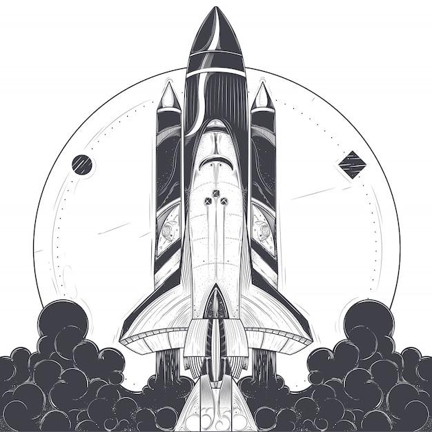 宇宙ロケット打ち上げのベクトル図。 無料ベクター