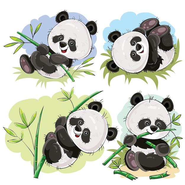 Игривый панда медведь с бамбуковым мультяшным вектором Бесплатные векторы