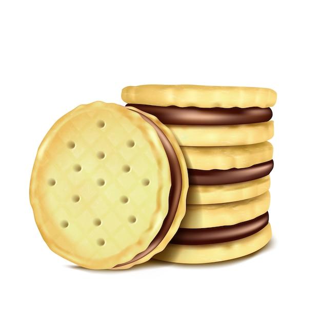 チョコレートの充填でいくつかのサンドイッチ - クッキーのベクトル図。 無料ベクター