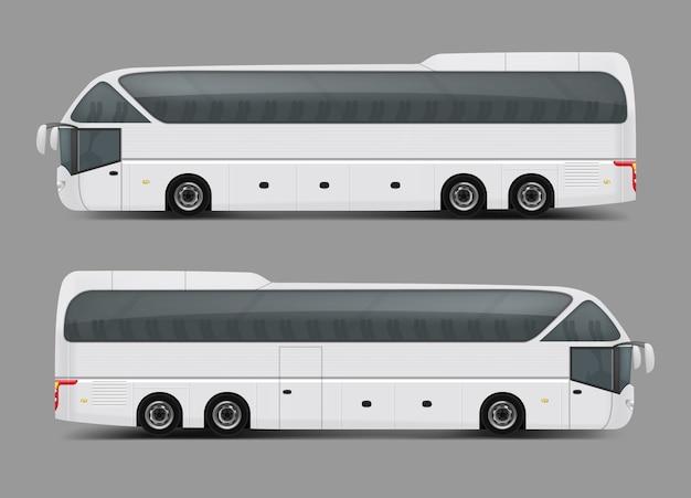 現実的なスタイルの白いバスのベクトル図 無料ベクター