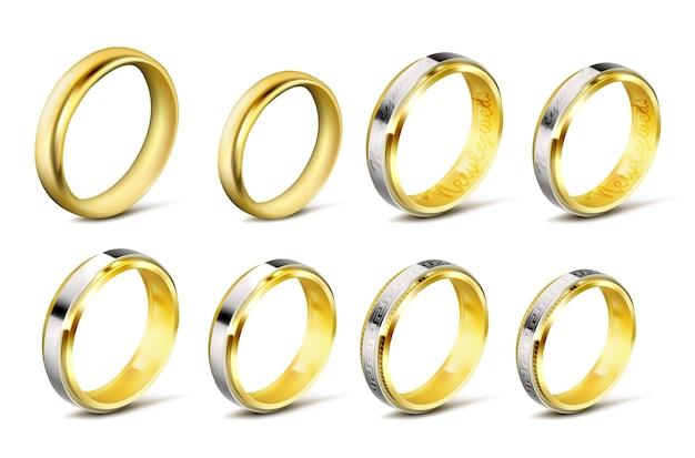 Набор реалистичных векторных иллюстраций золотых обручальных колец с тенью Бесплатные векторы