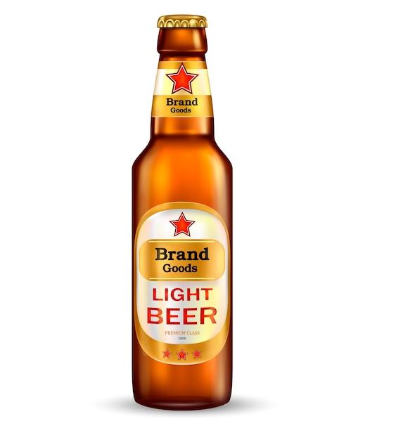 プレミアライトビールのラベルブラウンボトルでブランド化 無料ベクター