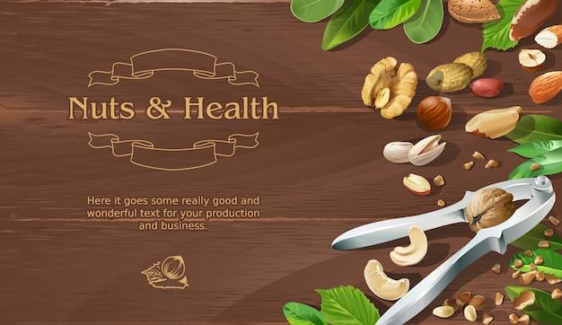 木製の背景に天然生ナットのミックス 無料ベクター