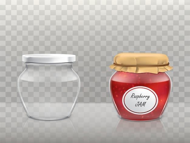 Набор стеклянных фигурных банок Бесплатные векторы