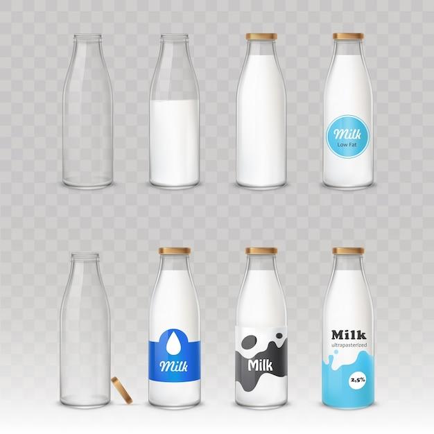 Набор стеклянных бутылок с молоком с разными этикетками. Бесплатные векторы