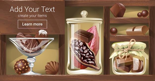 チョコレートと木製ラックのベクトル図 無料ベクター