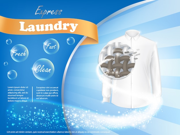 ランドリー洗剤広告ポスター 無料ベクター