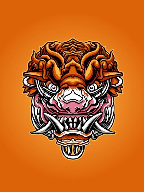 Иллюстрация тигровой маски Premium векторы
