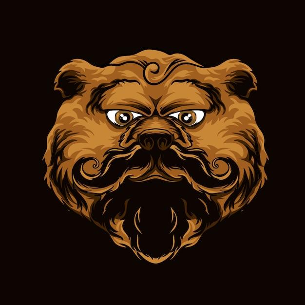 Медведь коричневый с удивительными усами Premium векторы
