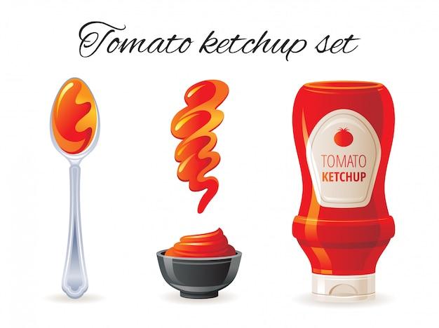 ホットソースボトル、ボウル、スプーン、スプラッシュで設定されたトマトケチャップソースアイコン。 Premiumベクター