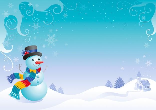 雪だるまのクリスマスカード。漫画の冬の風景。 Premiumベクター