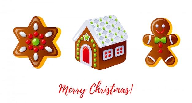 クリスマスのアイコンを設定します。漫画のジンジャーブレッド人、ビスケットの家、クッキースター。 Premiumベクター