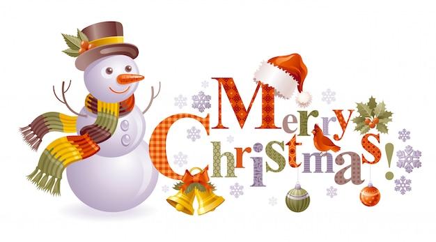 Рождественский снеговик, мультфильм открытка с текстом. Premium векторы