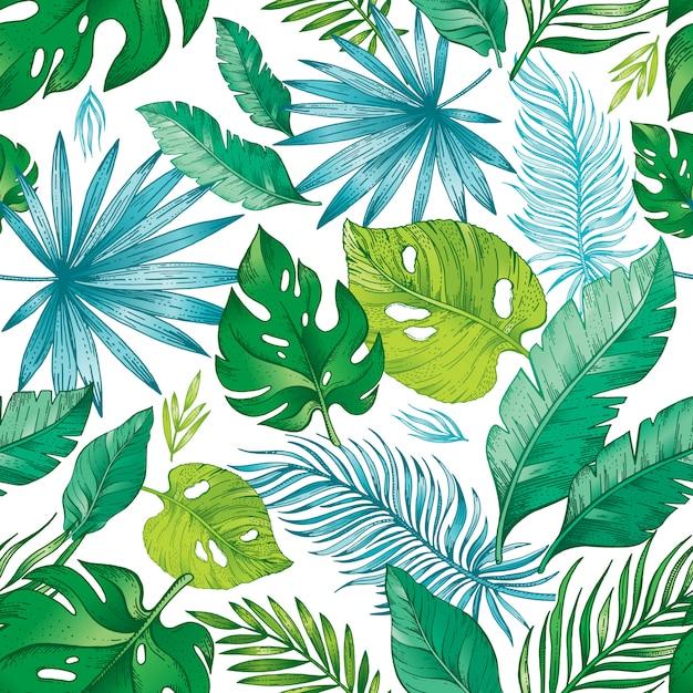 Бесшовный узор из тропических пальмовых листьев. Premium векторы